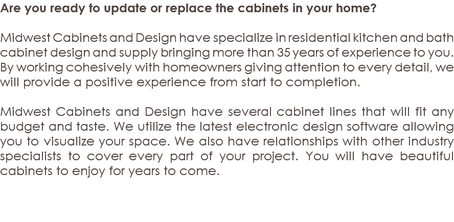Are You Ready To Update Or Replace The Cabinets In Your Home? Midwest  Cabinets And